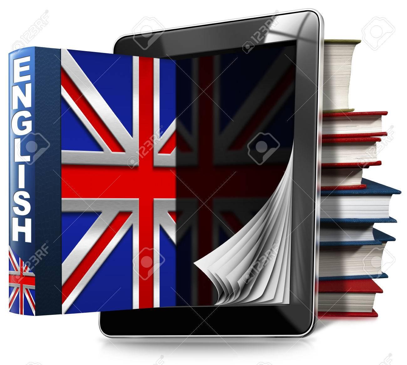 schwarz tablet-computer mit seiten und ein englisches buch, ein