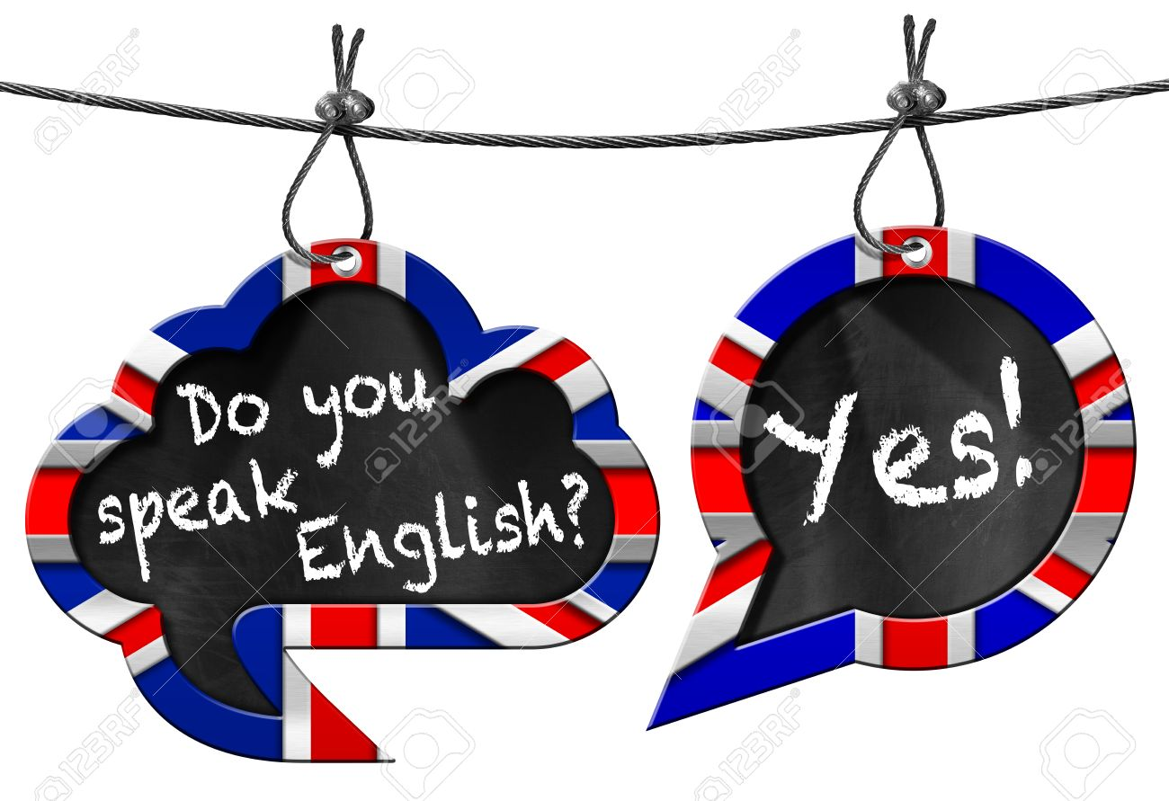 Zwei Sprechblasen Mit Uk Flaggen Und Text Sprechen Sie Englisch Ja ...