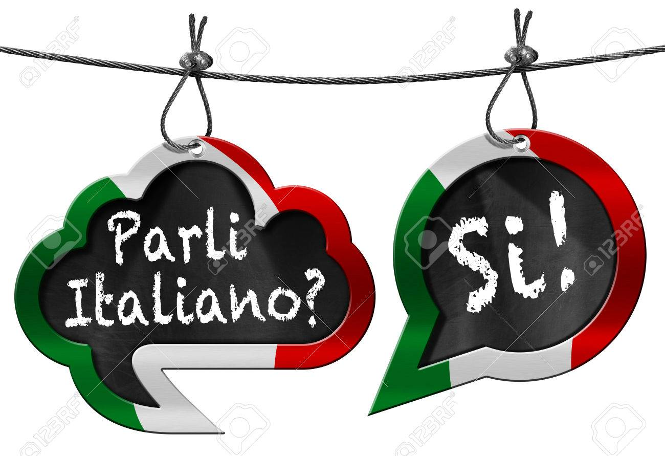 two speech bubbles with italian flag and text parli italiano stock