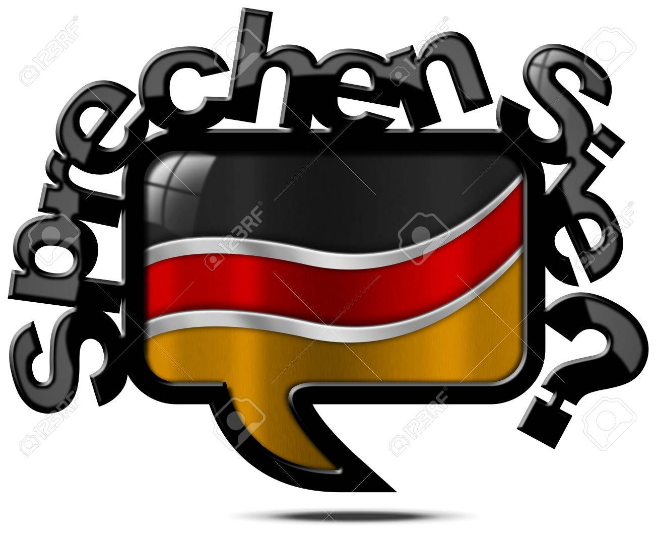 Speech Bubble With German Flag And Text Sprechen Sie Deutsch