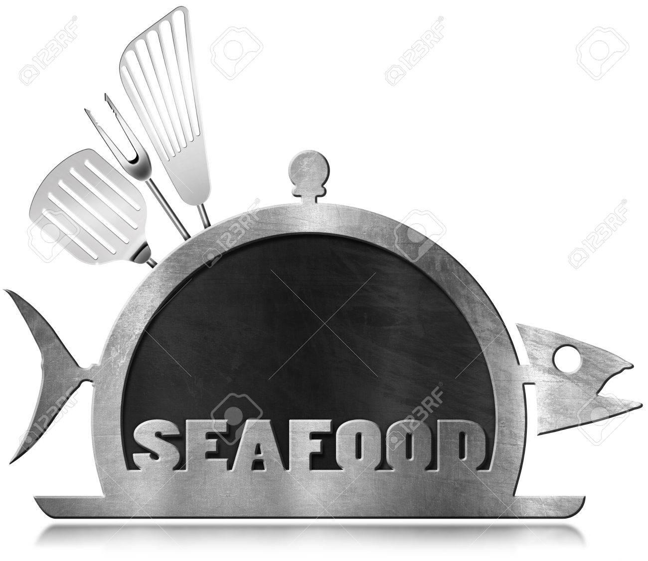 Tafel Mit Stahlrahmen In Form Von Fischen Und Servieren Kuppel Mit ...