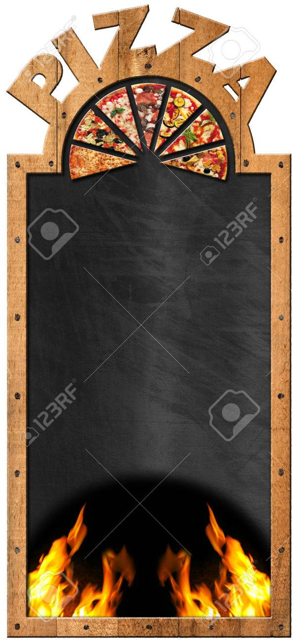 empty blackboard with wooden frame and text pizza flames and