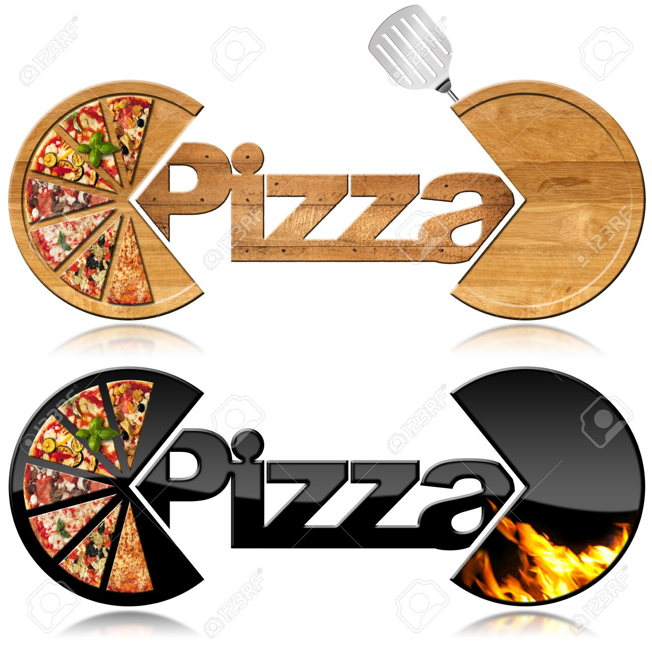 Two symbols with the slices of pizza text pizza flames and stock two symbols with the slices of pizza text pizza flames and spatula isolated biocorpaavc Gallery