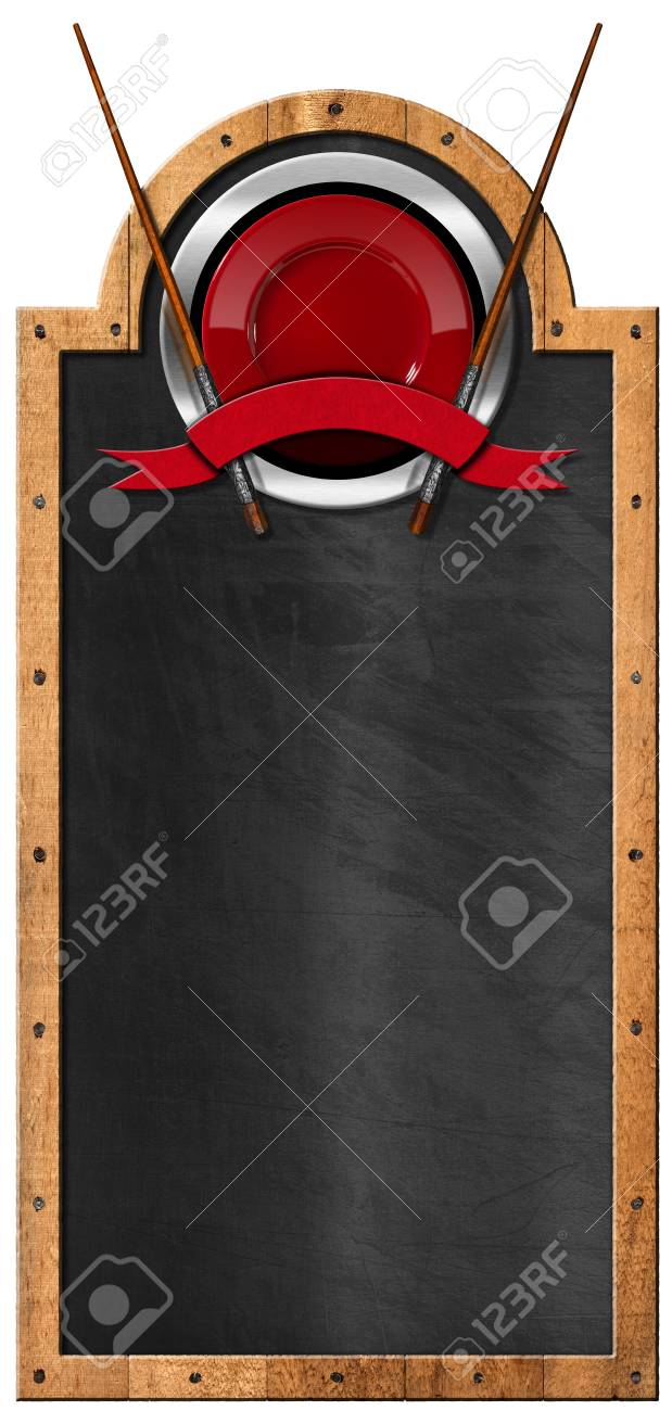 Empty Blackboard With Wooden Frame And Symbol With Red Plate, Wooden ...