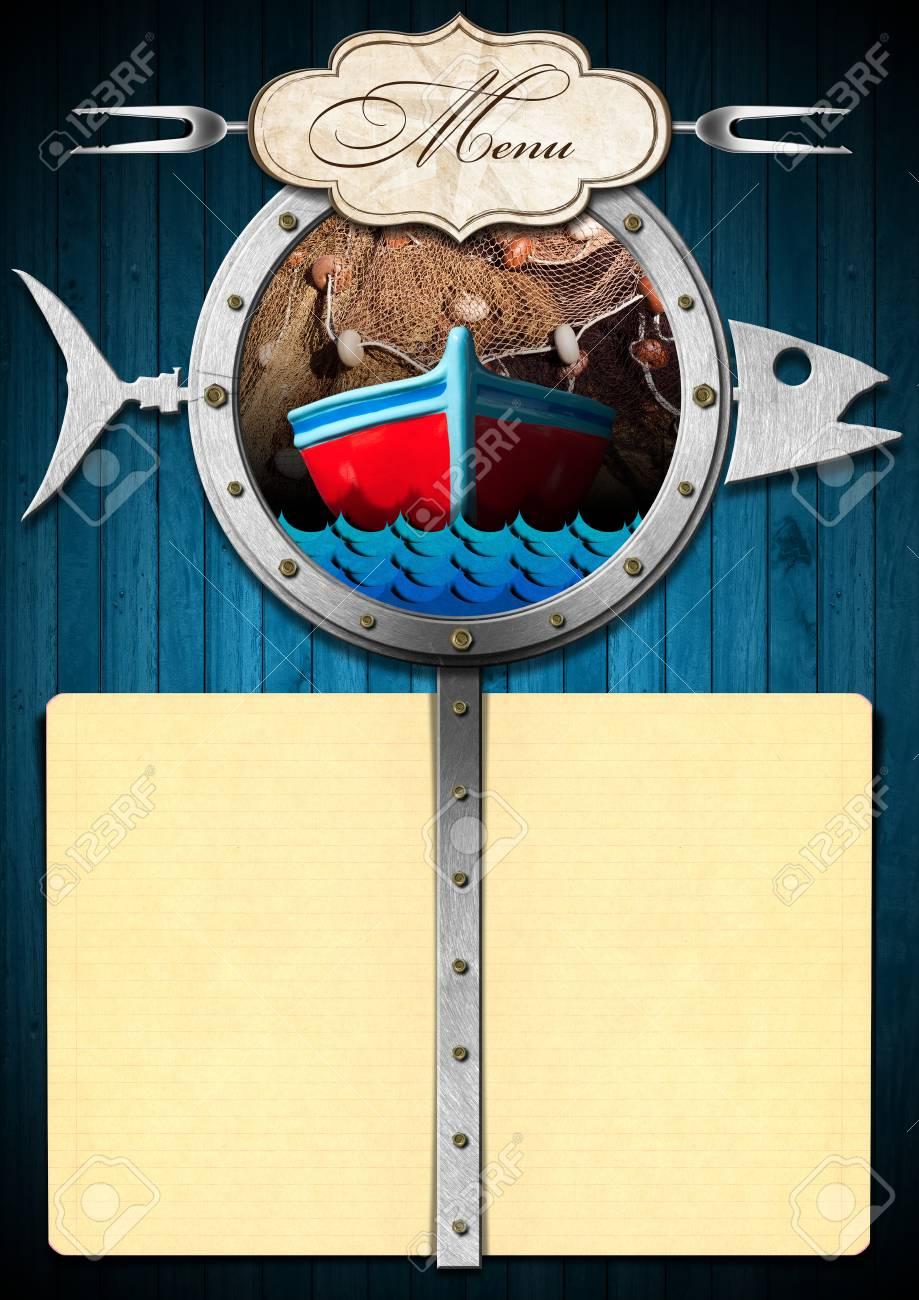 Plantilla Para Un Menú De Mariscos Con Un Ojo De Buey En Forma De ...