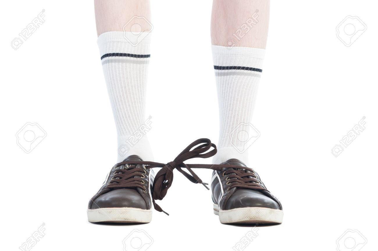 Long Socks And Shoe Laces Tied Together Prank On White Background