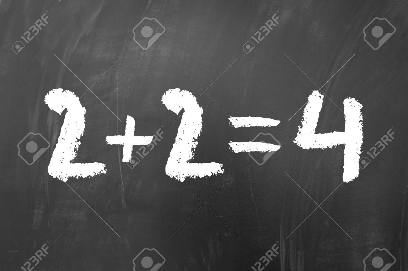 Worksheet Simple Math 2 plus equals 4 simple math problem solved on a school blackboard stock photo
