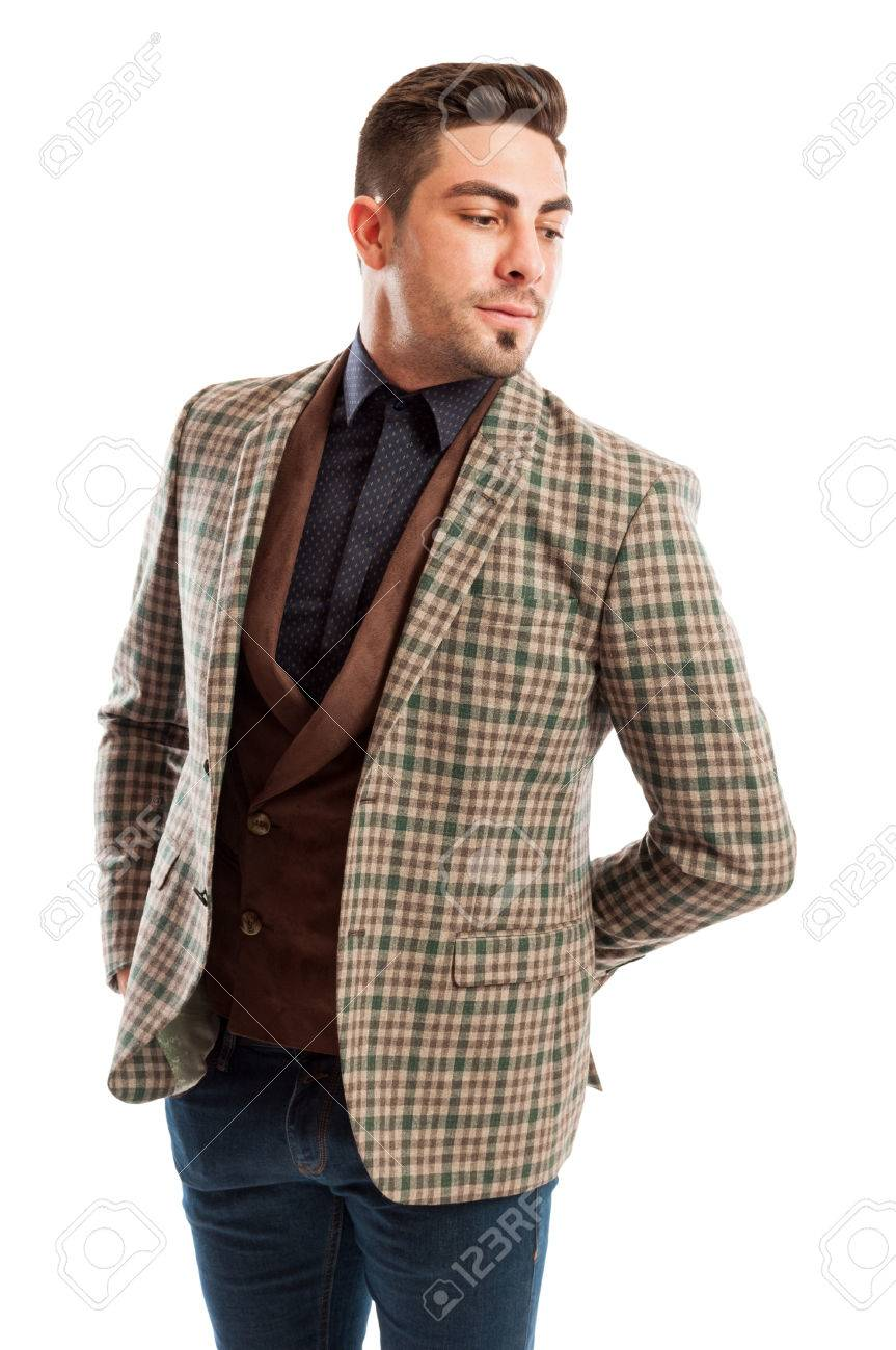 9f1aad4f7a Giacca modello di indossare tuta a scacchi maschile elegante e retrò gilet