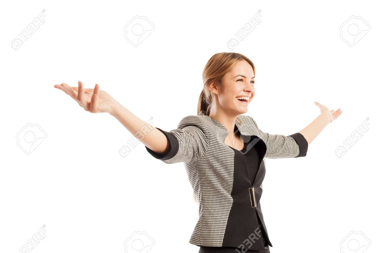 Successful and happy business woman concept with one female model holding her arms up - 36342628