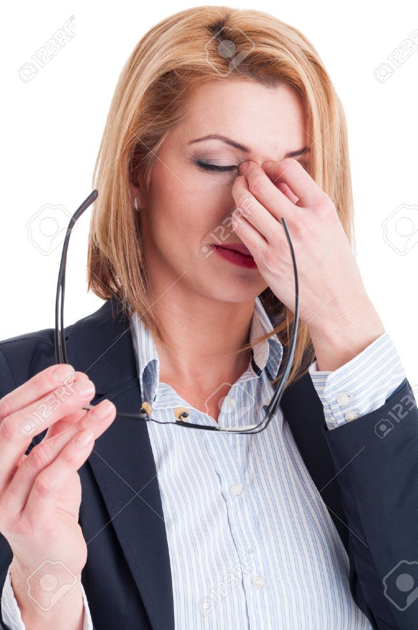 Stressed or tired from reading business woman concept on white background - 36668876