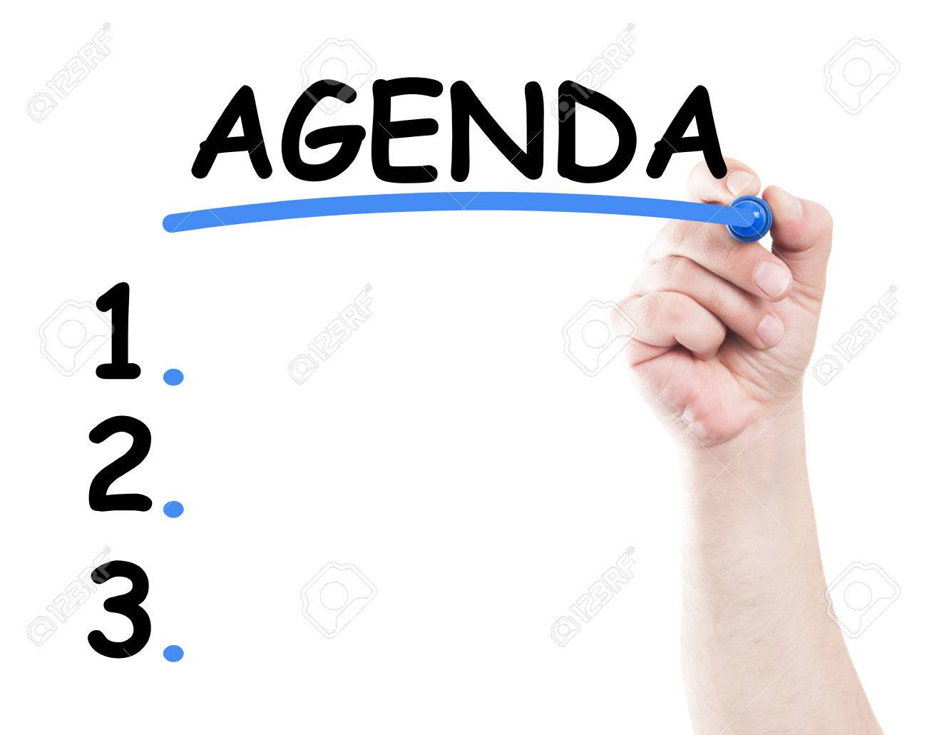 Agenda list concept made by a human hand holding a marker on transparent wipe board - 37833240