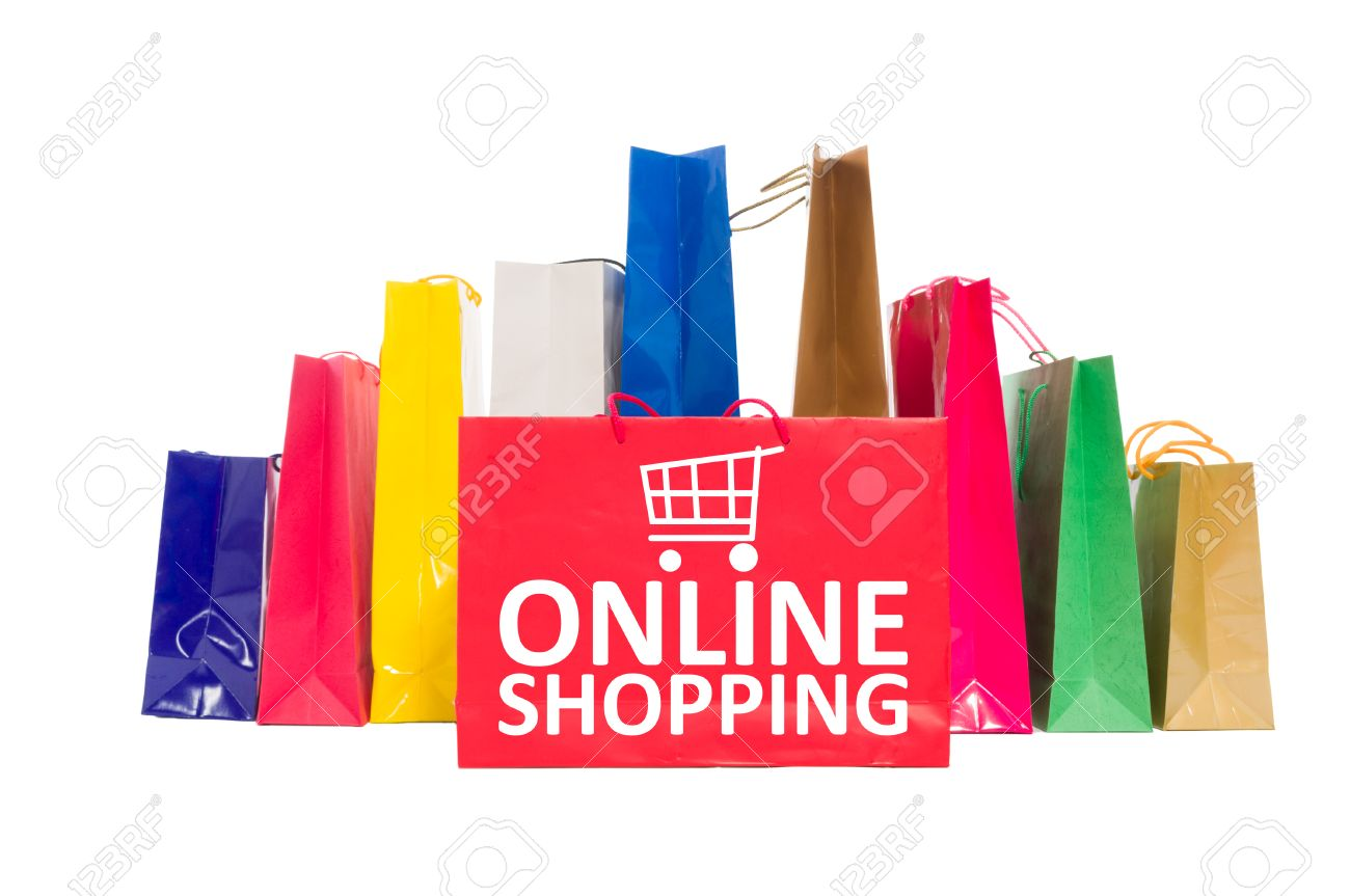 Online Shopping Concept Using Shopping Bags Isolated On White ...