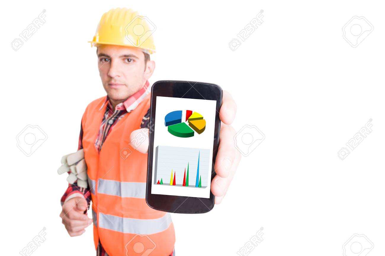 Builder or construction worker showing smartphone with financial charts - 40184803