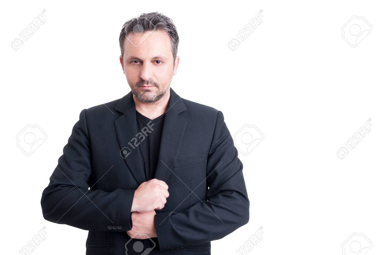 Black t shirt with suit - Fashionable Business Man Wearing Elegant Casual Suit Jacket And Black T Shirt Stock Photo