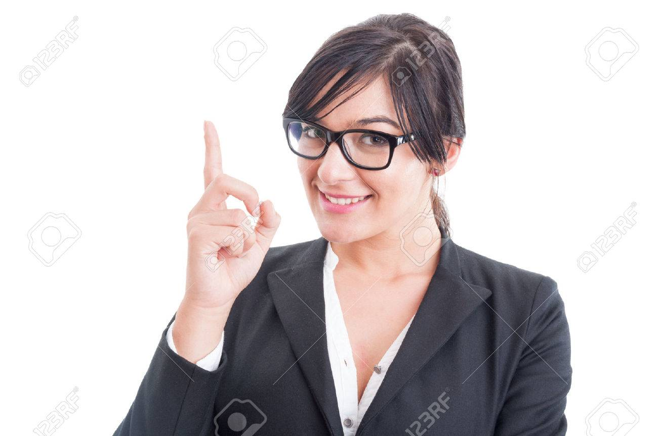 Business woman poiting finger up or having an idea. Pay attention to teacher concept - 41219405