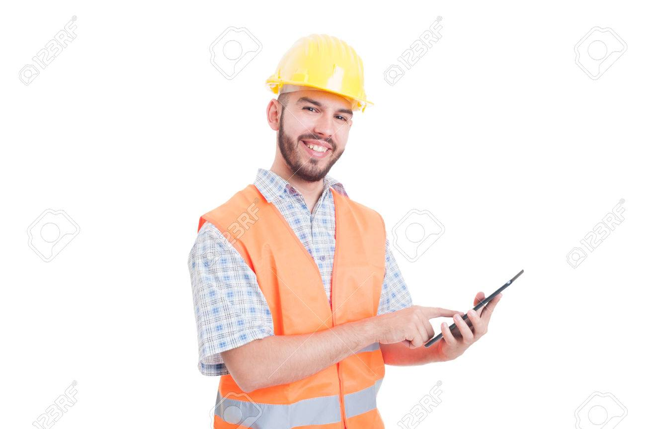 Friendly and modern construction worker or builder using tablet - 42304331