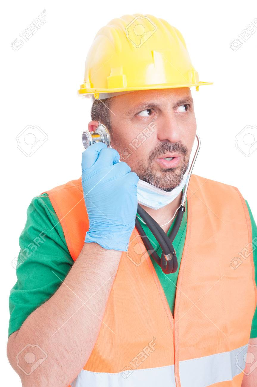 chose the right career concept man wearing doctor and builder chose the right career concept man wearing doctor and builder clothes listening the stethoscope stock