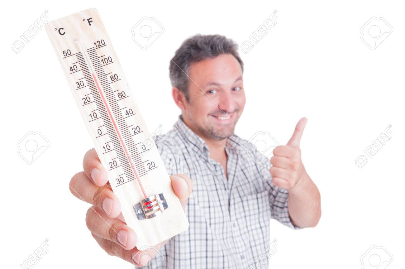 Man holding thermometer and showing like as cool or good temperature concept - 43237389