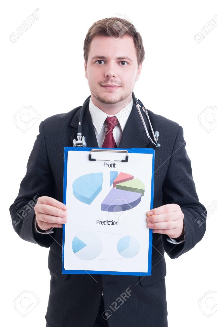 Gerente De Hospital Amistoso O Médico Jefe Que Muestra Tablas ...