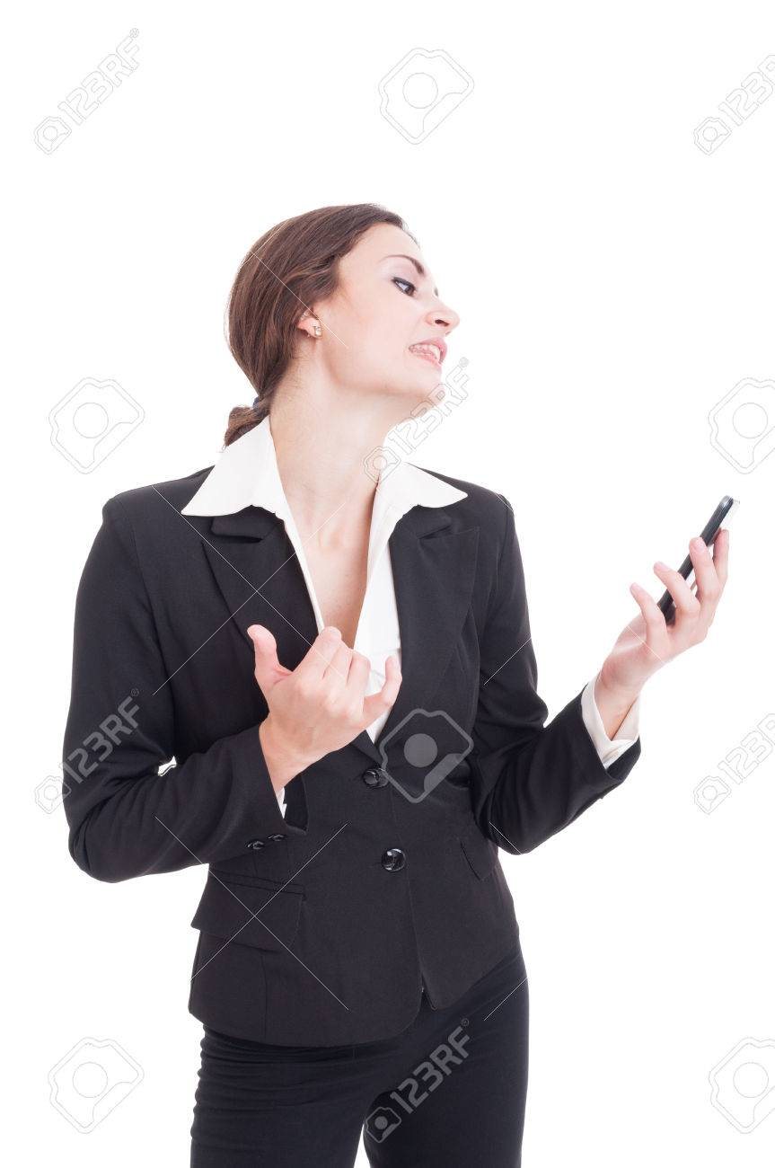 Business woman acting sexy on a video call using smartphone and opening her  shirt Stock Photo