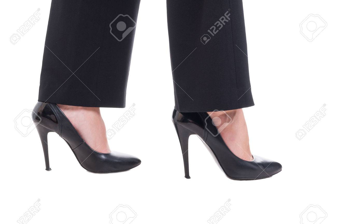 Business Woman Feet Wearing Black Leather Shoes With High Heels ...