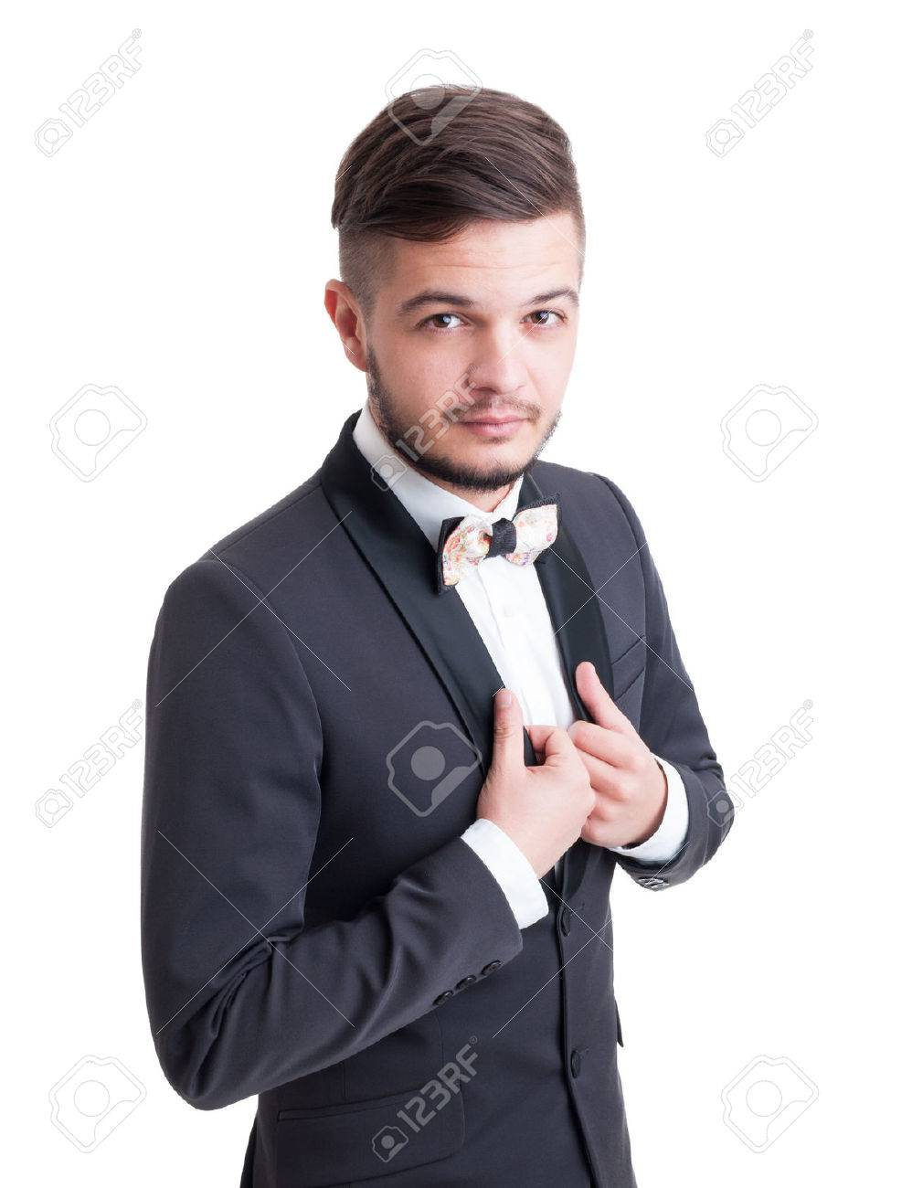 cheap for sale 2019 hot sale huge sale Handsome male model wearing tuxedo jacket and colored bow tie..