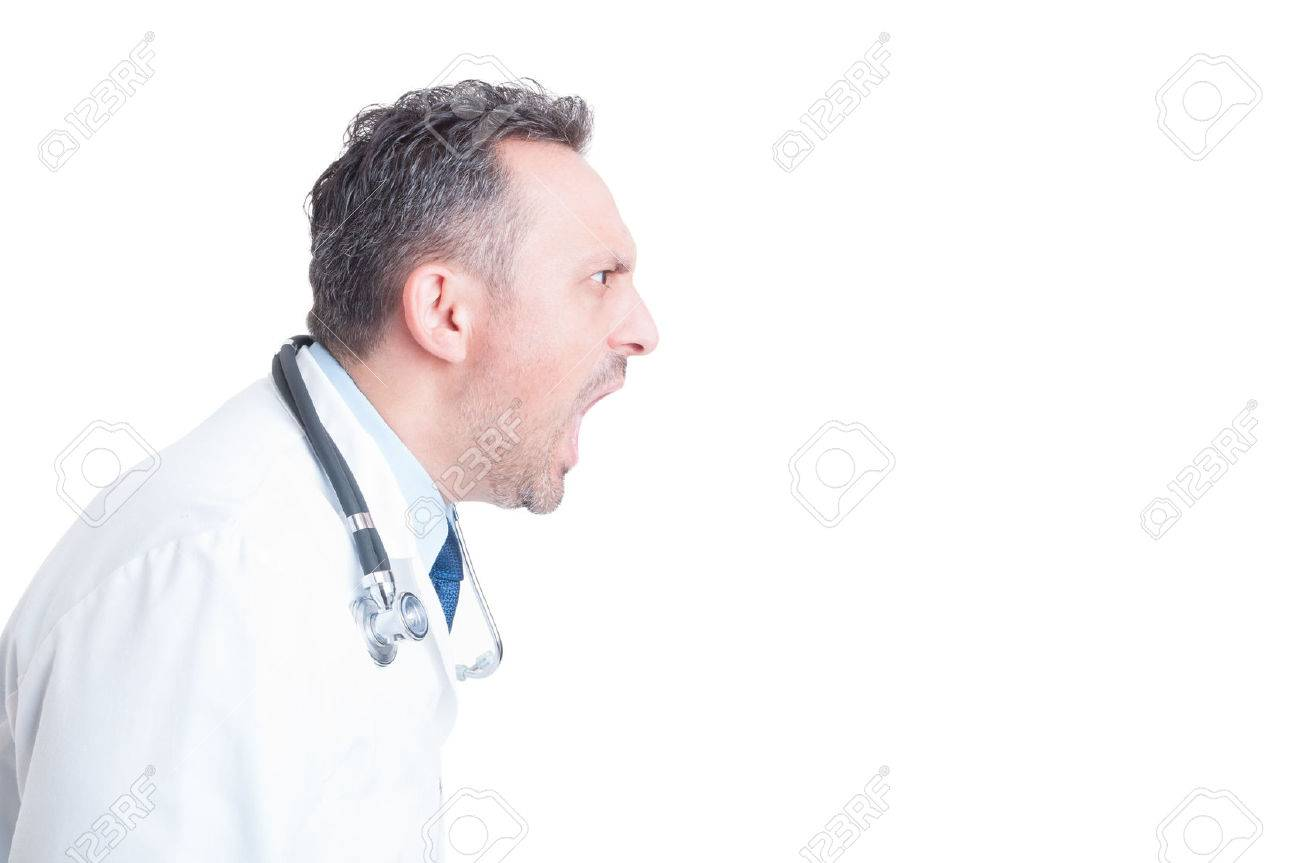 Side view of angry medic or doctor yelling and shouting isolated on white copy space - 47531944