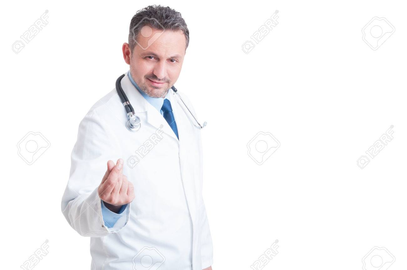Doctor or medic asking for money and bribe with gesture smiling isolated on white background - 47531948