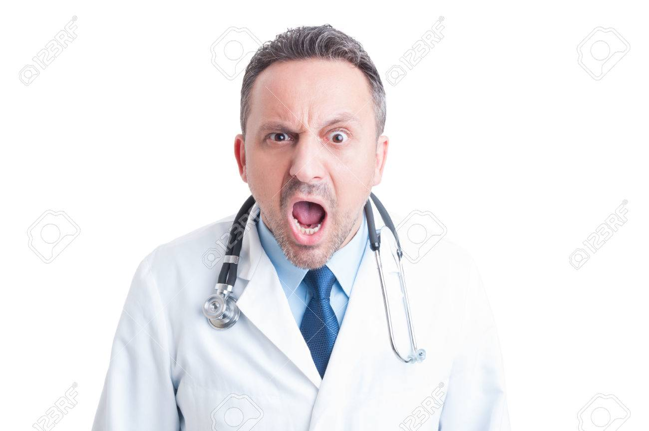Angry medic or doctor yelling at camera as rage and fury concept - 47531979