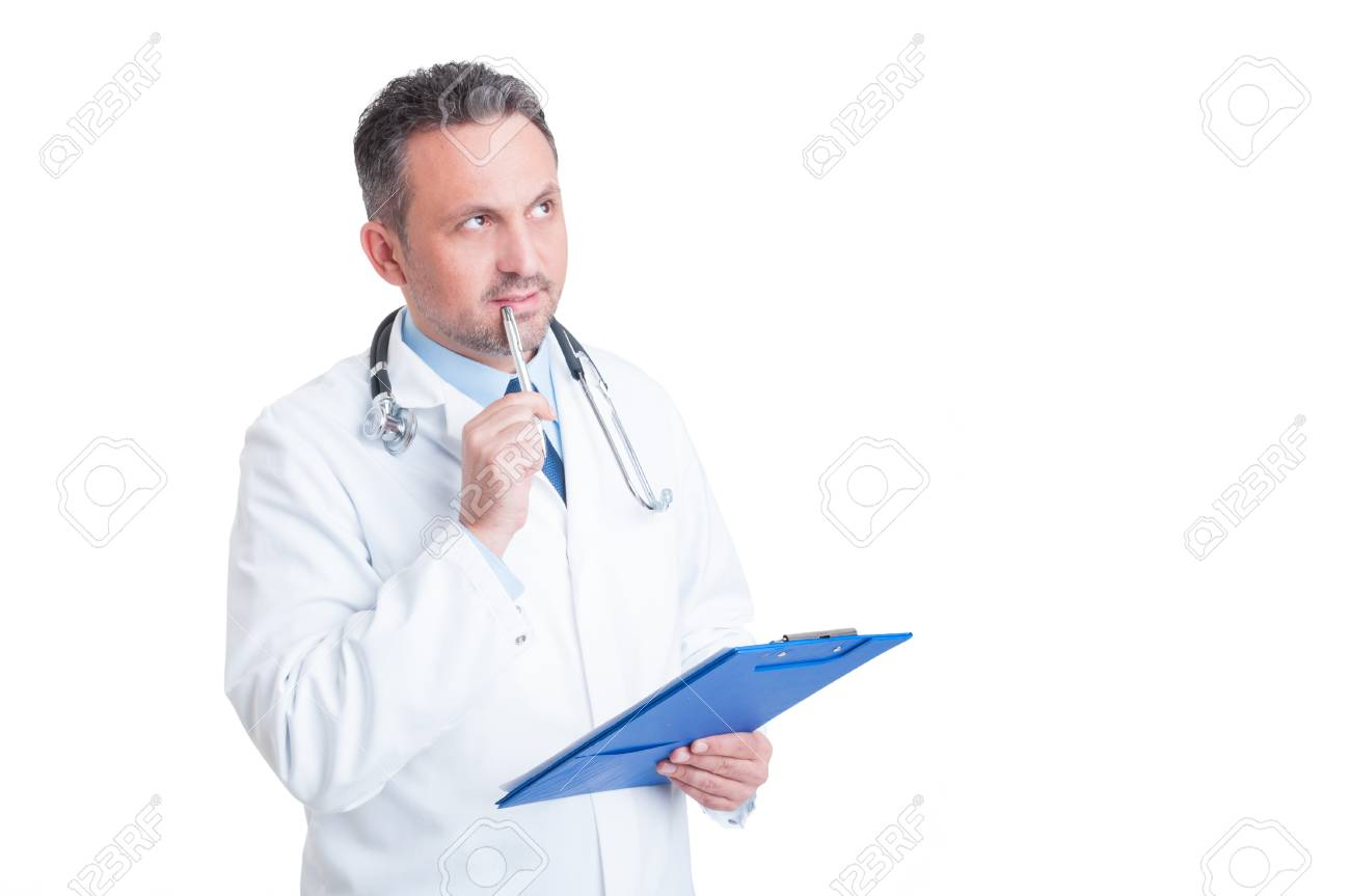 Handsome doctor or medic holding clipboard and thinking isolated on white background - 48097680
