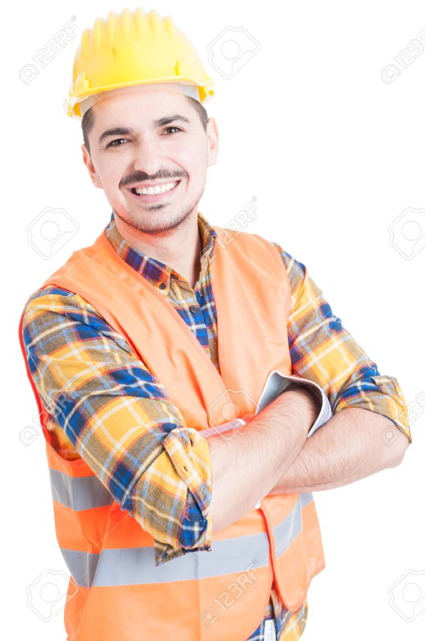 Smiling handsome constructor with folded arms looking cheerful and happy on white backgound - 54584007