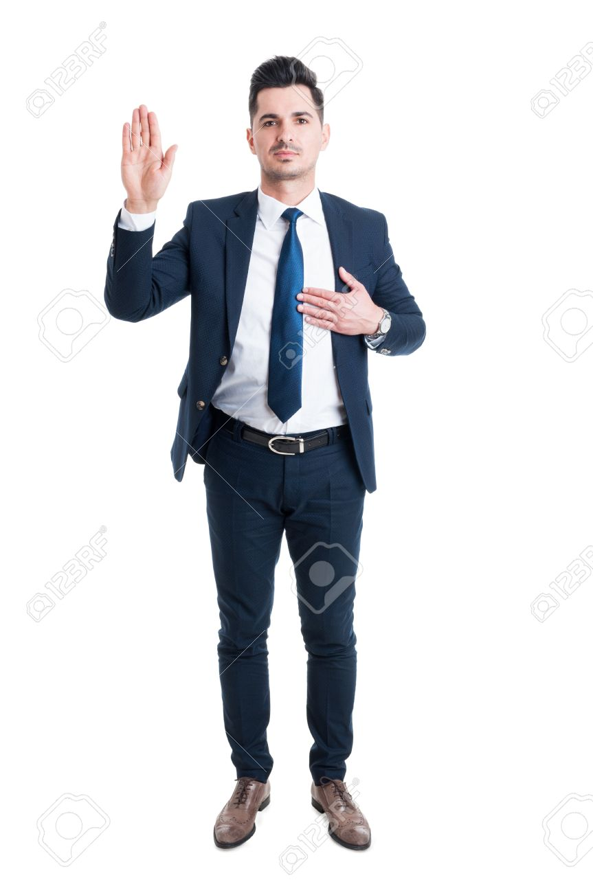 Honest lawyer hand on heart as swear or oath gesture isolated on white background - 55512035
