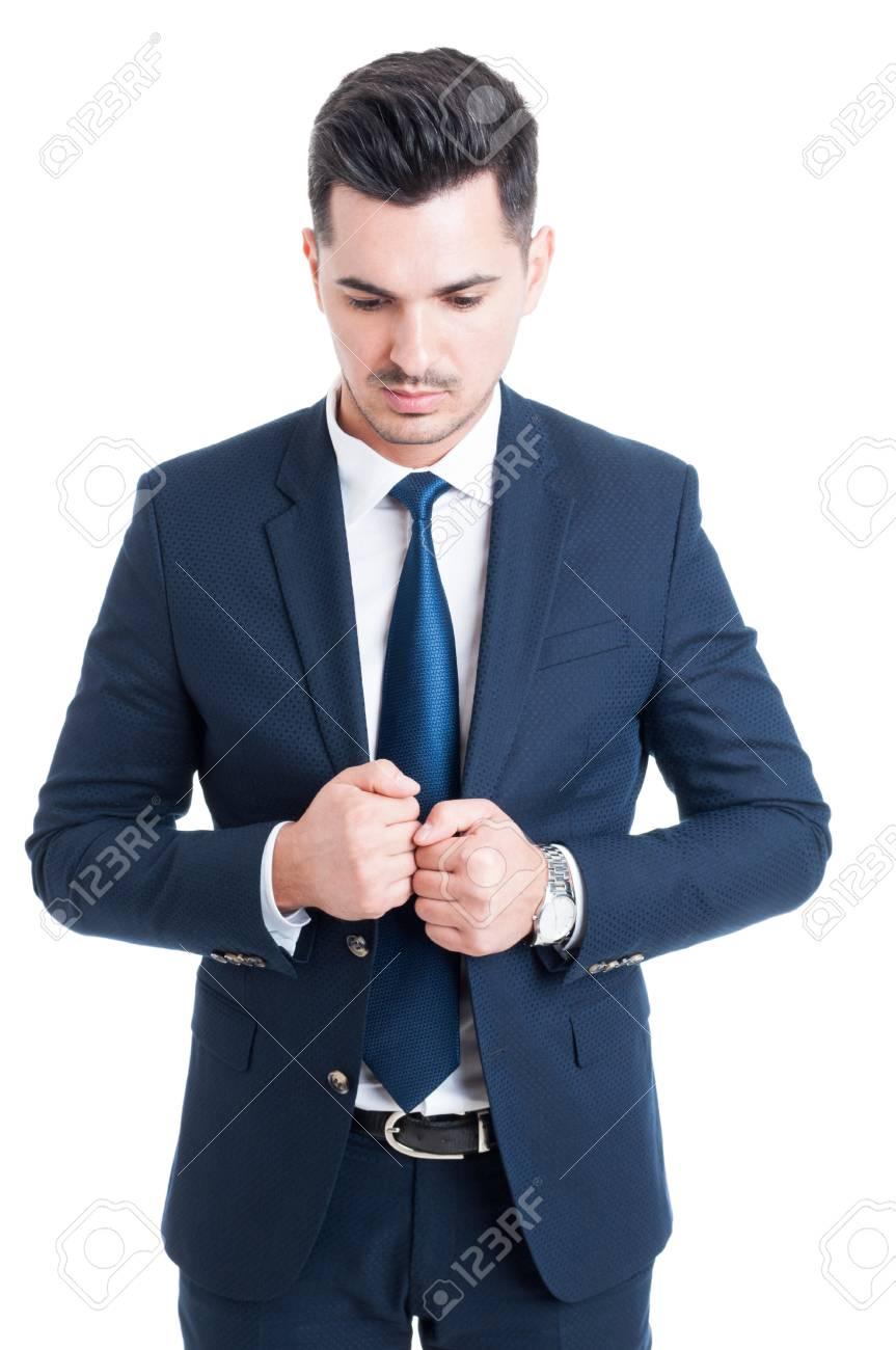 Nachdenklicher Geschäftsmann Eleganten Blauen Anzug Und Krawatte