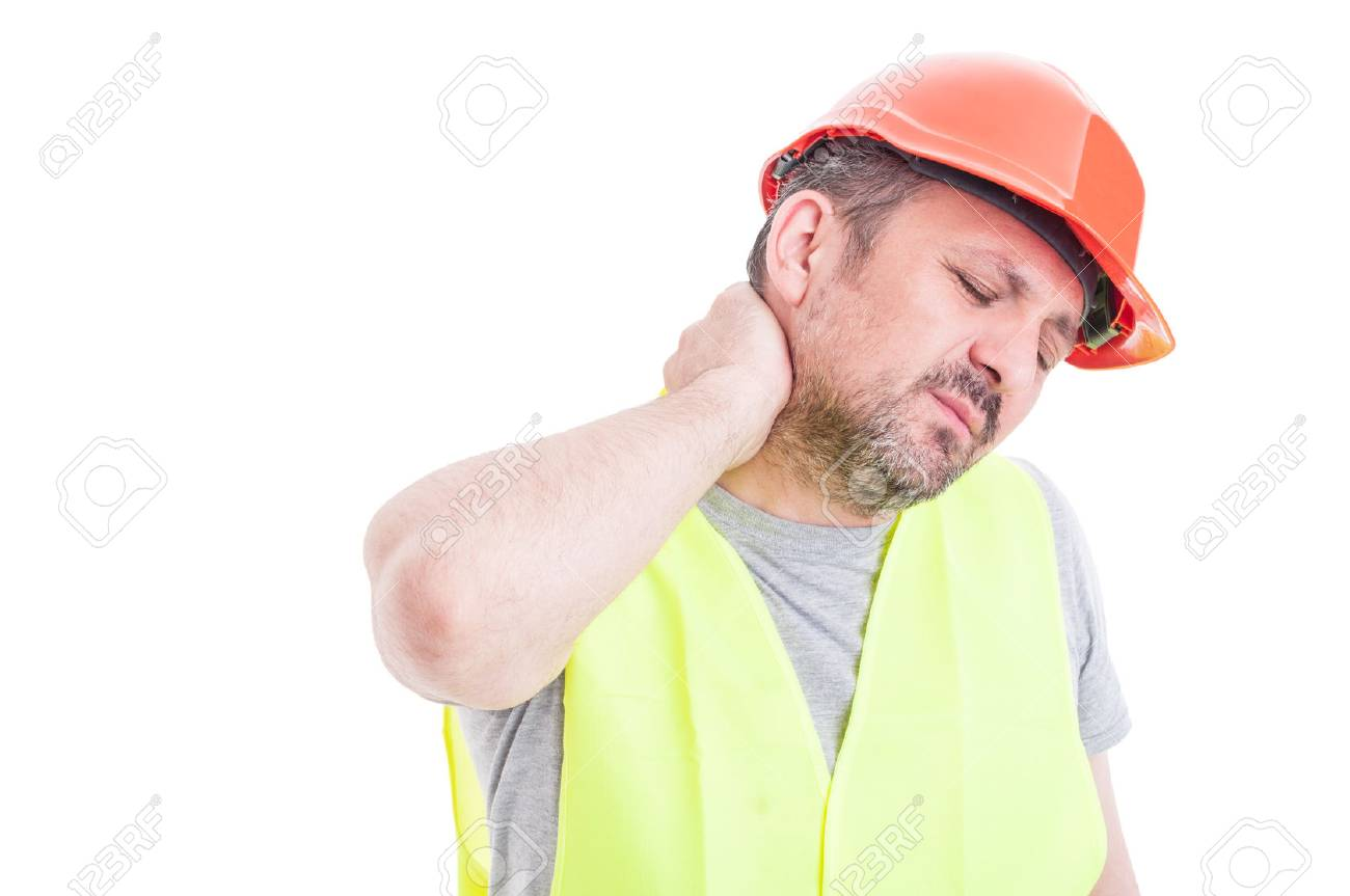 Portrait of tensed young constructor feeling exhausted as stressful work concept isolated on white studio background - 59598244