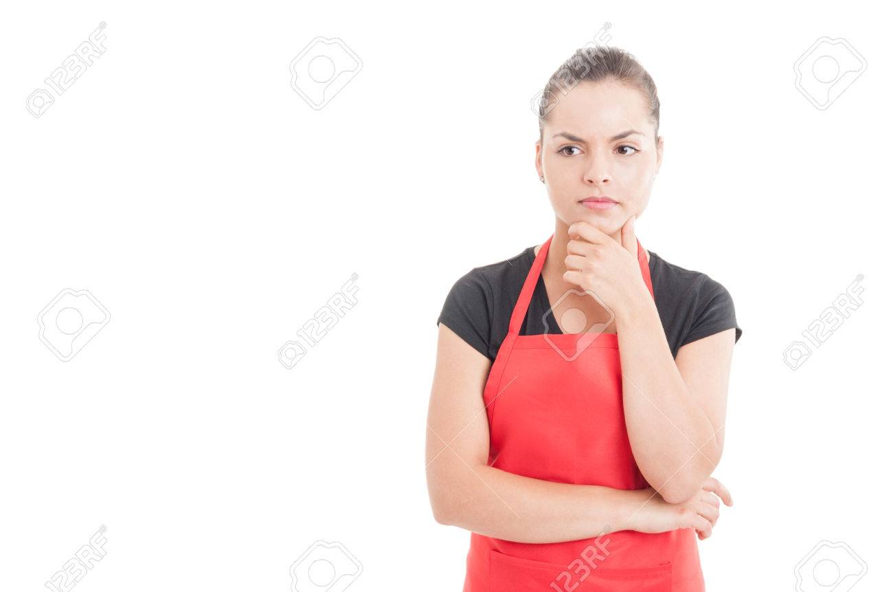 Portrait of supermarket female employee thinking at something isolated on white with copy space - 60120359