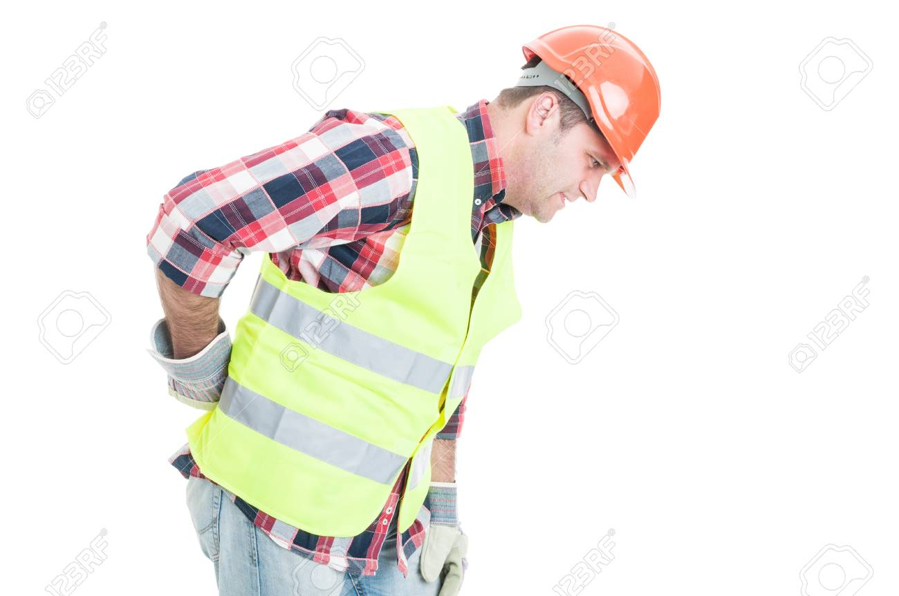 Young constructor suffering form back pain and bending over isolated on white background - 60119598