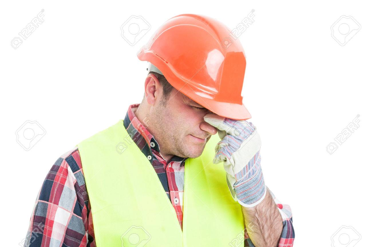 Portrait of stressed male builder looking upset and having problems isolated on white background - 60119458
