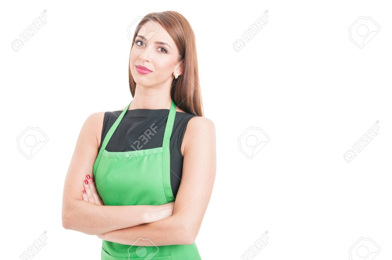 Confident pretty employee standing with arms crossed as successful seller concept isolated on white with advertising area - 61154703
