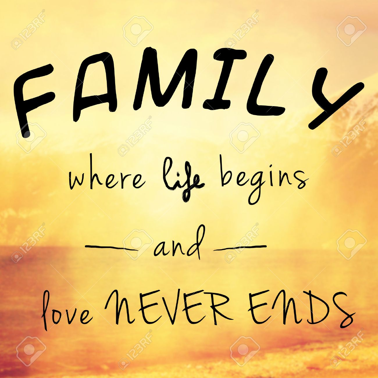 love quotes Beautiful and inspiring message or quote about family life and love Stock
