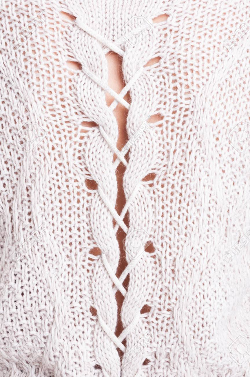 Close-up Of Feminine White Wool Sweater With Pretty Details Fotos ...