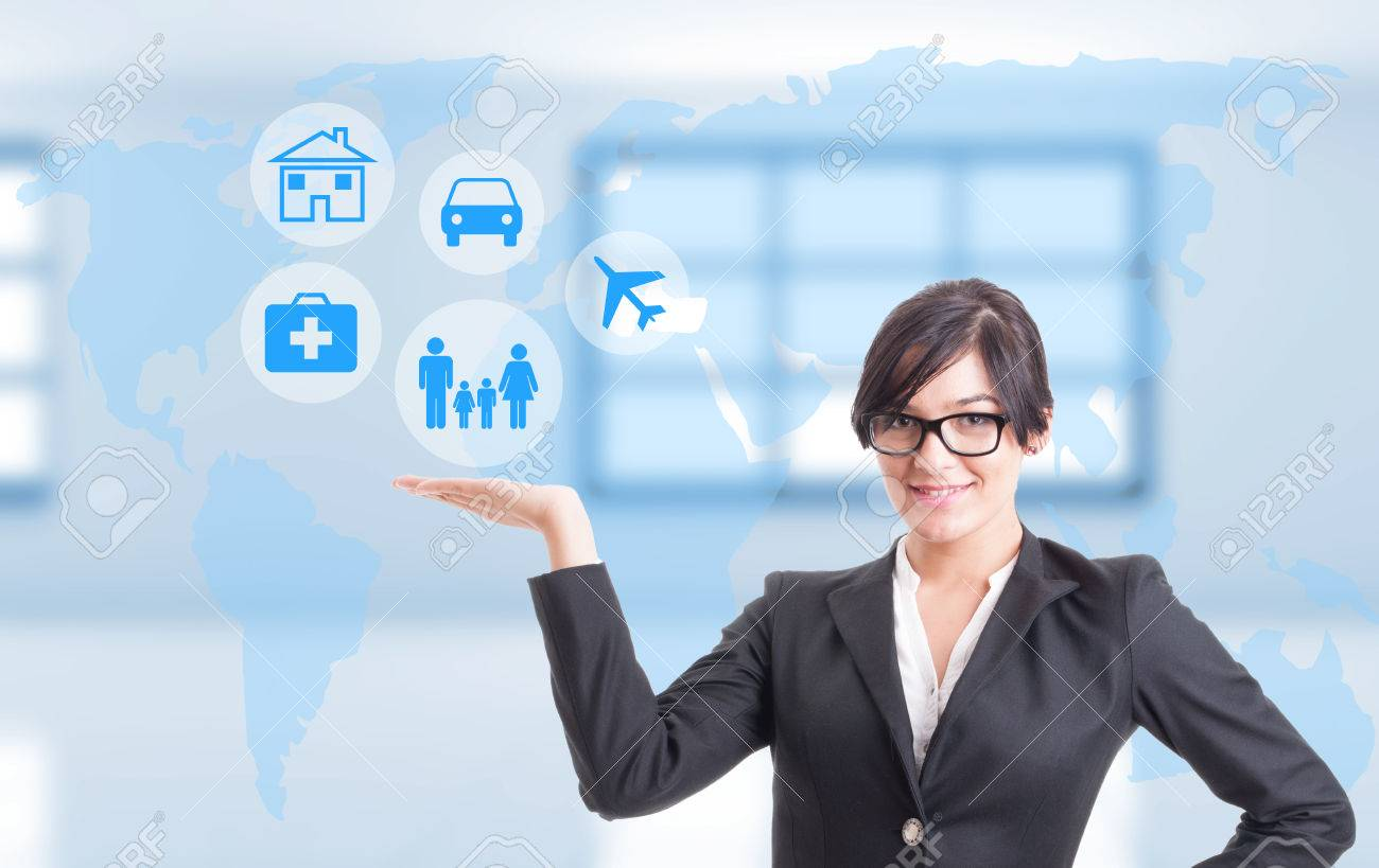 Female consultant showing different types of insurance for life, health and travel - 84374452