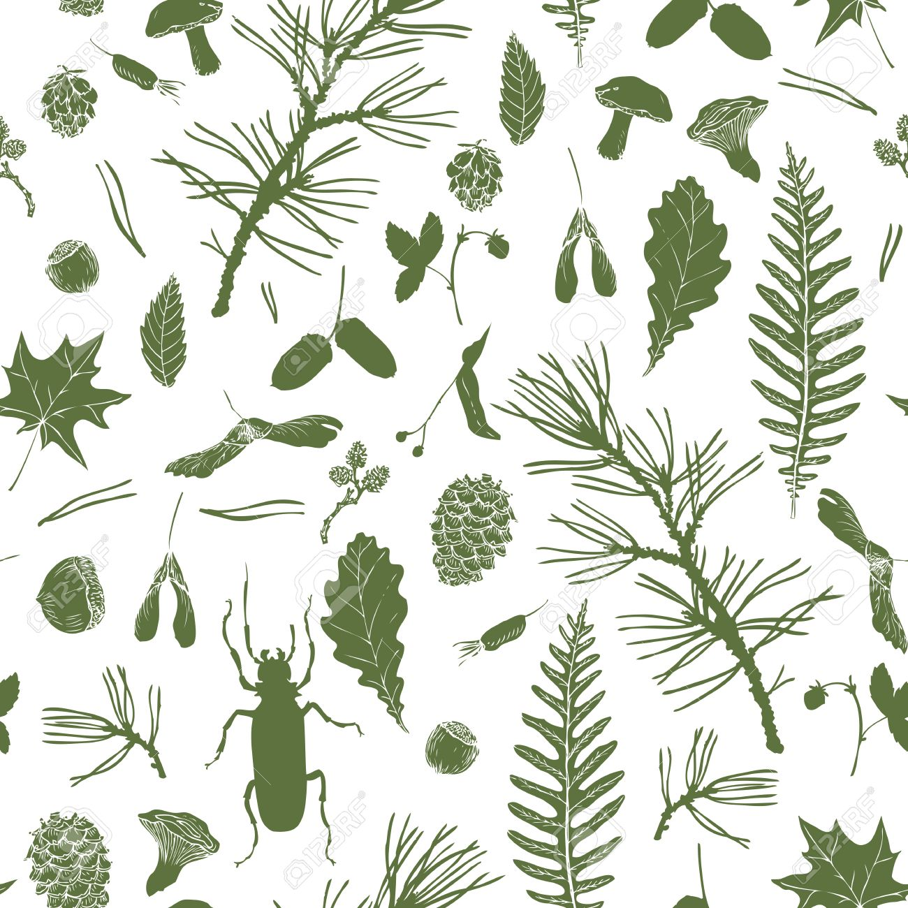 vector seamless pattern with ink drawing forest objects seeds