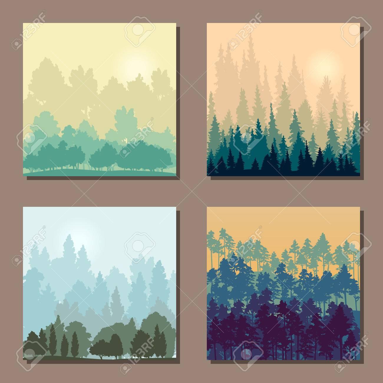 Conjunto De Diferentes Paisajes Con árboles, Plantillas Cuadrados ...