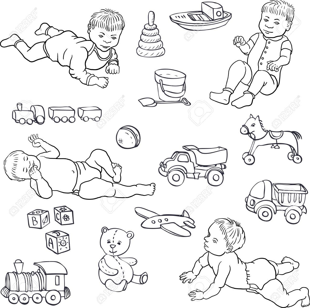 Satz Von Strichzeichnung Babys Und Spielzeug, Autos, Bär, Horce ...