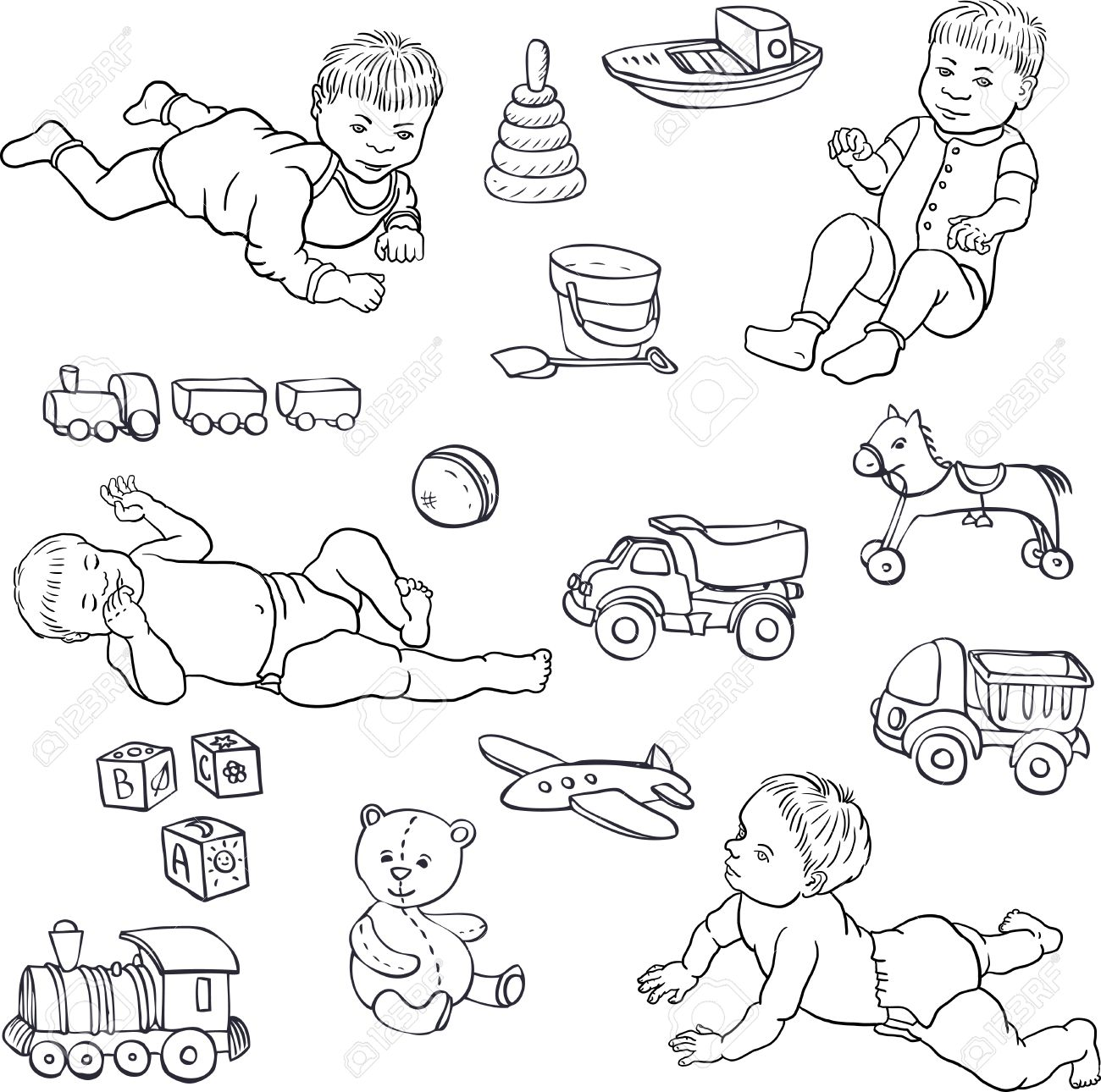 Set Of Line Drawing Babies And Toys, Cars,bear,horce,ball, Cubes ...