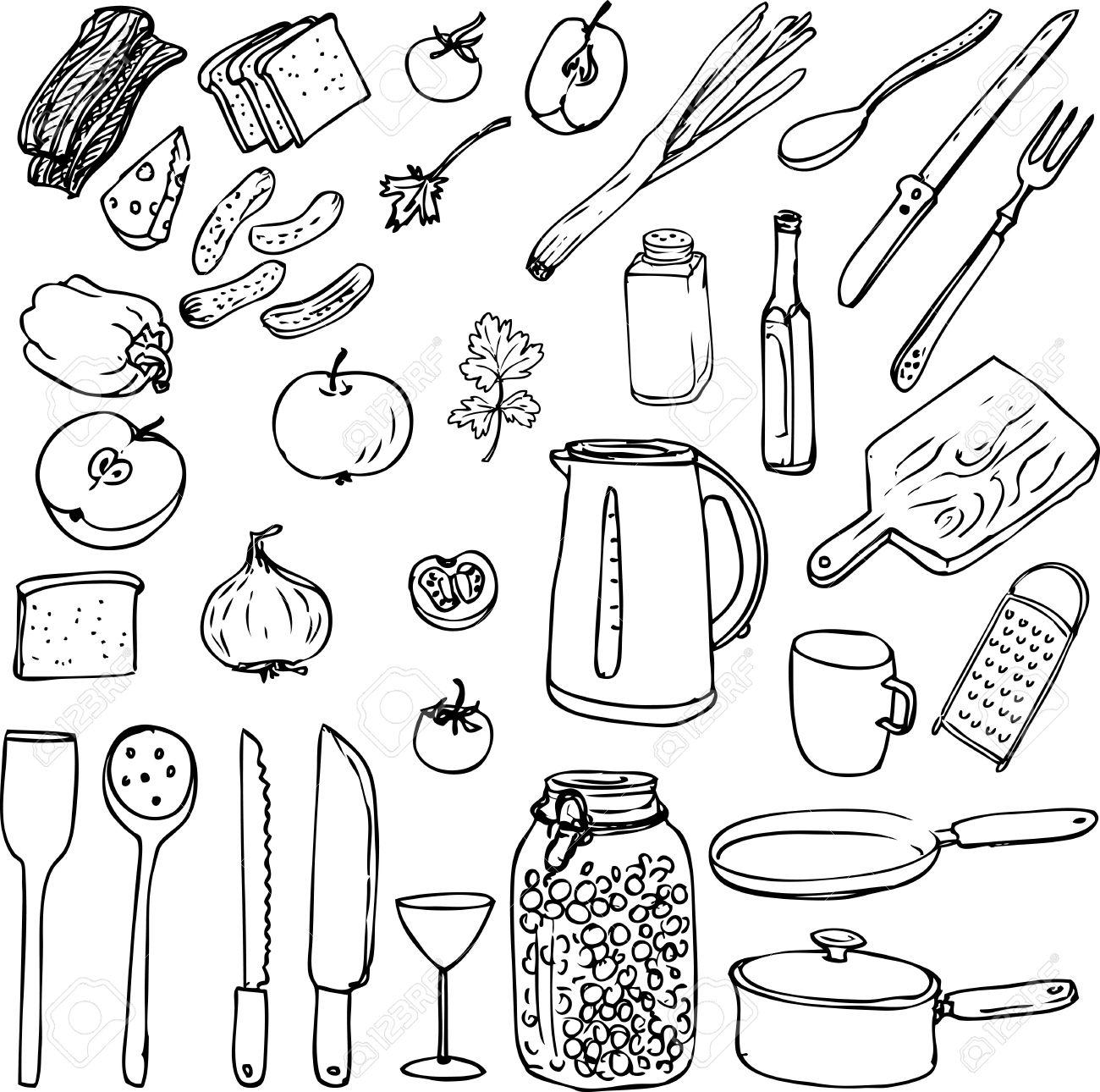 Skizze Lebensmittel Geschirr Und Kuchengerate Hand Gezeichnet Vektor Illustration Lizenzfrei Nutzbare Vektorgrafiken Clip Arts Illustrationen Image 39528499