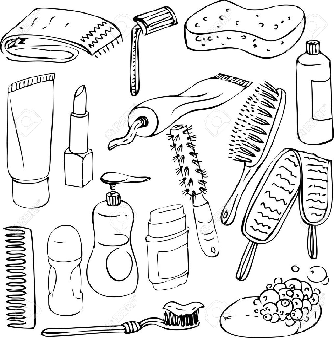 Sketch Of Bathroom Objects Hand Drawn Vector Elements Royalty Free - Drawing of bathroom