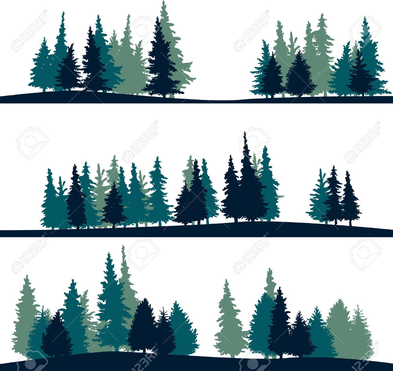 set of different silhouettes of landscape with fir trees vector rh 123rf com tree vector image tree vector png