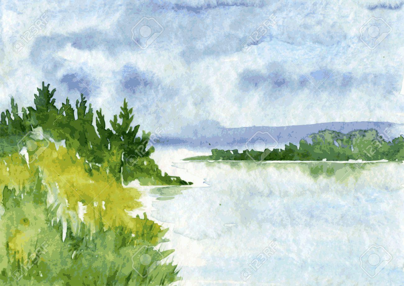 川とトウヒの森、雨の雲と水の反射ベクトル水彩風景を抽象化、描画