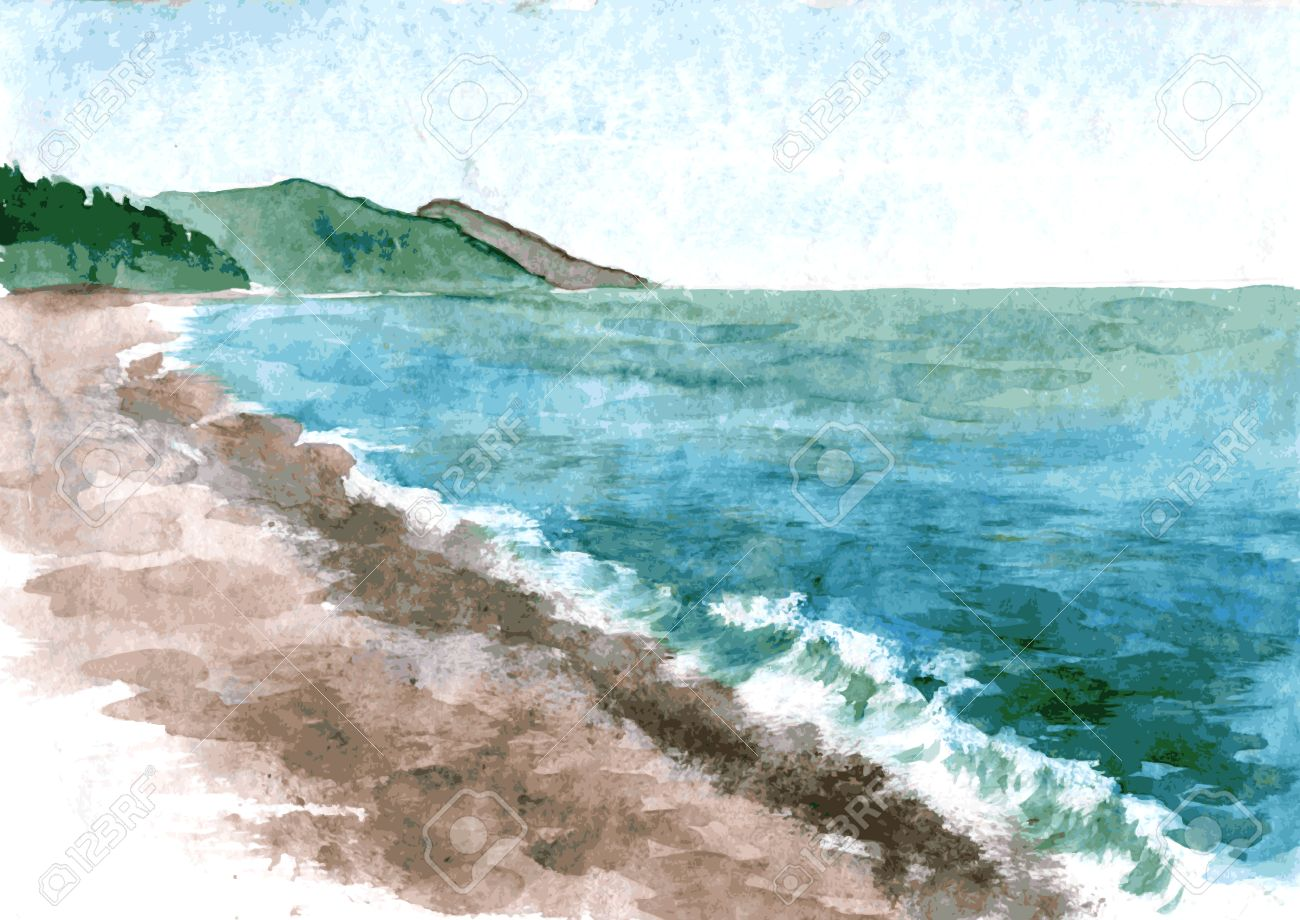 Easy Beach Waves Drawing Watercolor Sea With On A Stone Mountains In